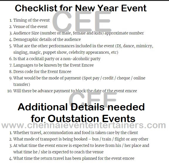 Checklist for New Year Party Events Event Managers and Clients to give to Emcees