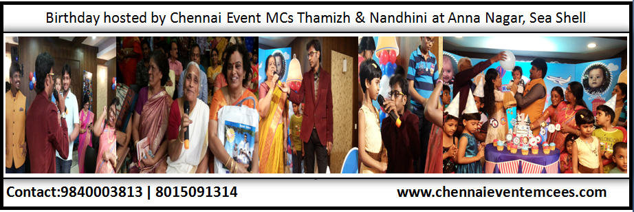 Birthday Party Stage Games and Interaction at Hotel Sea Shell Annanagar Chennai Emcees Thamizh RK and Nandhini A