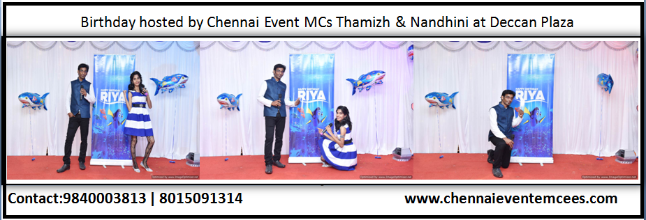 Birthday Party for NRI Kid at Hotel Deccan Plaza Royapettah Tamilnadu Emcees Thamizh RK and Nandhini A
