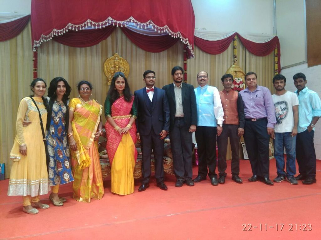 Chennai Event Entertainers Team with Dr Maharaja SivaSubramanian N at NLP Trainer Ramasubramanian's son's wedding reception