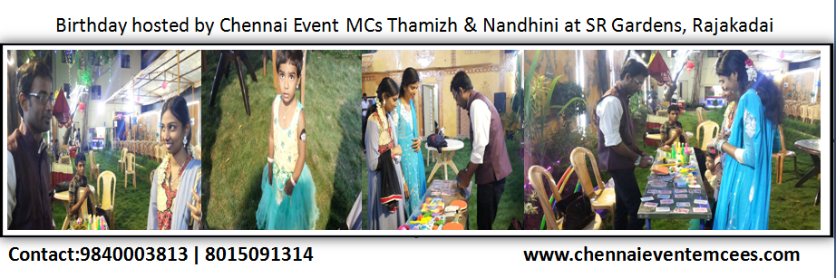 Birthday Party Table Games at SR Gardens Thangal Thiruvottiyur Chennai Anchors Nandhini A and Thamizh RK