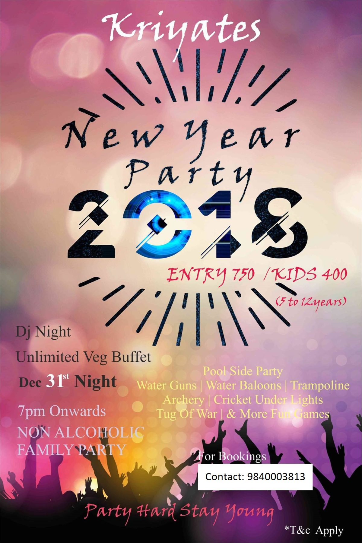 New Year Eve 2018 at Kriyates Recreation Club Okkiyam OMR Chennai_Chennai Anchor Thamizharasan