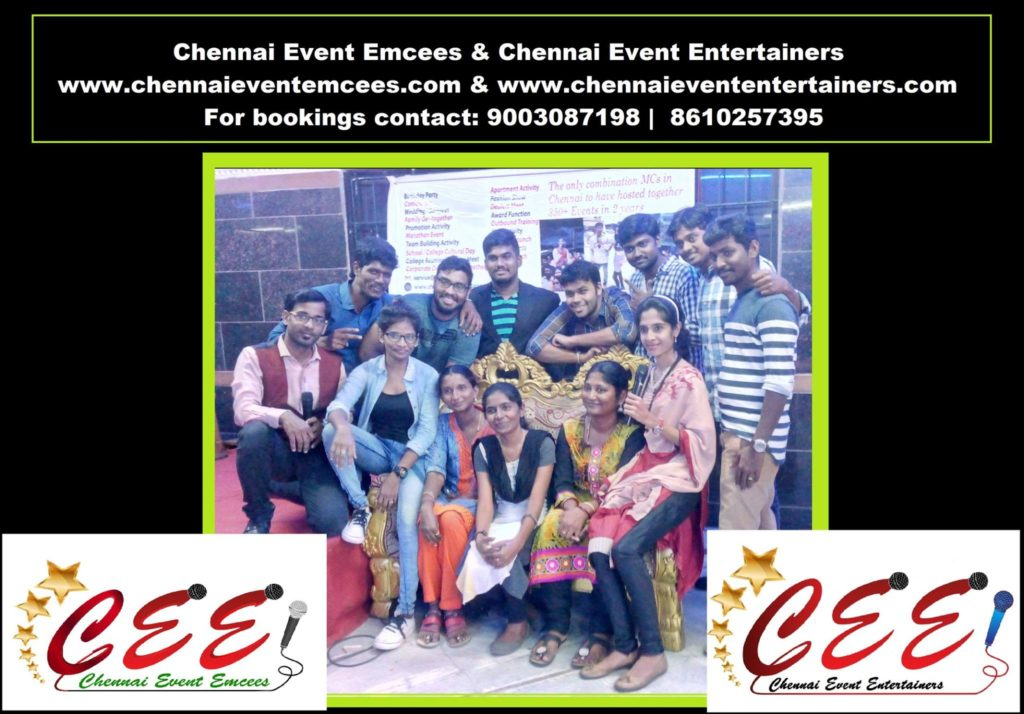 Chennai Event Emcees and Chennai Event Entertainers Team headed by MC Thamizharasan and MC Nandhini