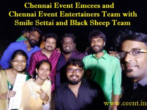 Chennai Event Emcees and Chennai Event Entertainers Team with Smile Settai and Black Sheep Team at Startup Pongal 2.0