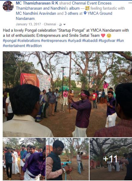 Attending Startup Pongal Celebrations 2.0 at MNM Jain College Thoraipakkam 11th January 2018