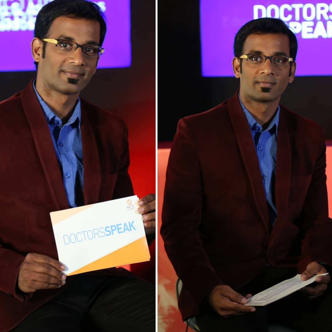 Practicing script for Doctor's Panel Discussion shoot for Speak Health Online Channel