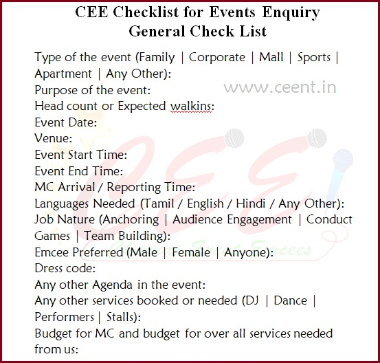 CEE Checklist for Events Enquiry General Check List