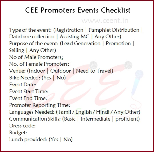 Chennai Event Emcees CEE Promoters Events Checklist