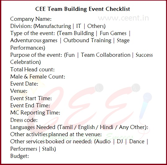 Chennai Event Emcees CEE Team Building Event Checklist