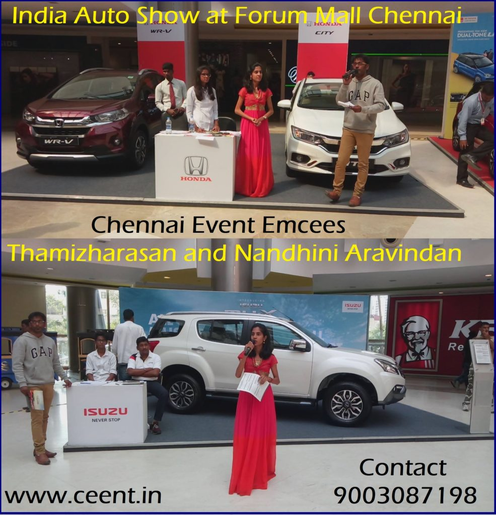 Chennai Event Emcees Thamizharasan and Nandhini in India Auto Show Edition 6 at Forum Mall