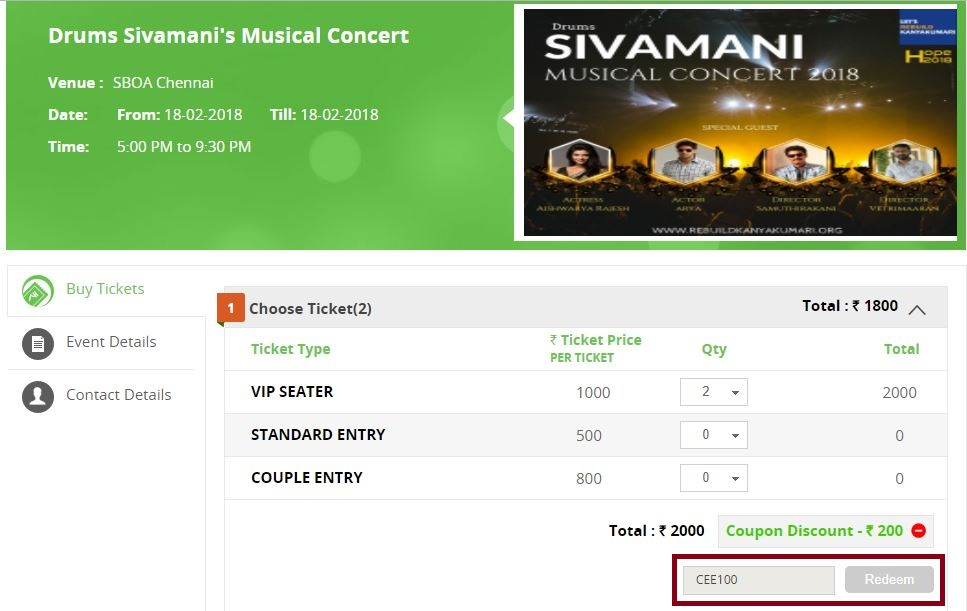 Tickets for Lets Rebuild Kanyakumari Drums Sivamani Live in Concert Fund raising for Cyclone Ockhi (okki) Victims Payu Money