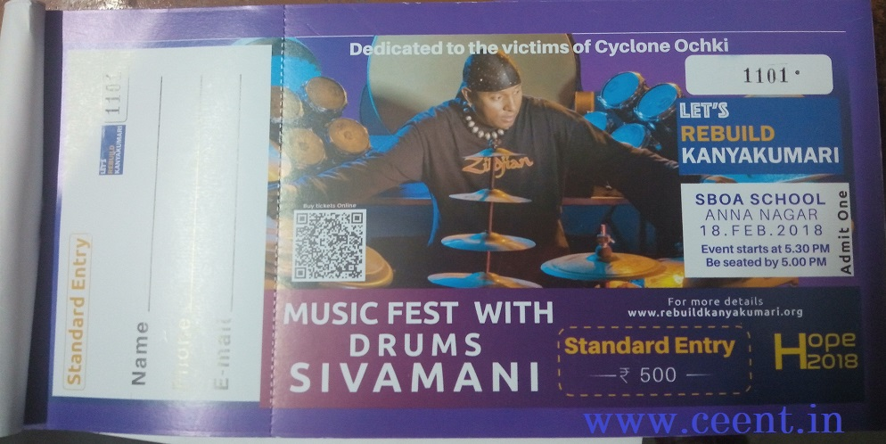 Have you blocked your ticket for Lets rebuild Kanyakumari Drums Sivamani Concert to raise funds for cyclone victim