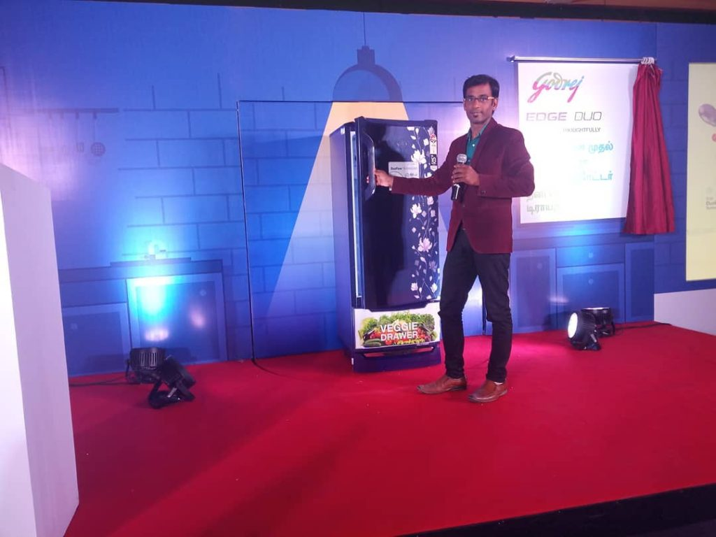 Hosted Godrej Refrigerator launch at Hotel Cenneys Gateway Salem Anchor Thamizharasan