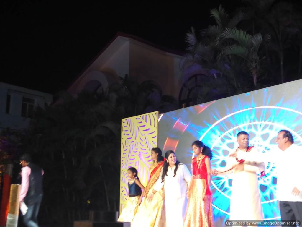 Bride's Family's dance performance at Sangeet Ceremony at The Royal Palms Farm House Injambakkam