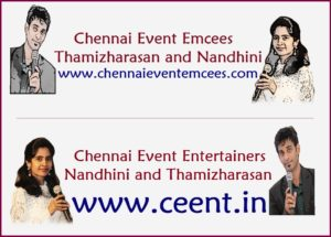 Chennai Event Emcees and Entertainers Thamizharasan Karunakaran and Nandhini Aravindan