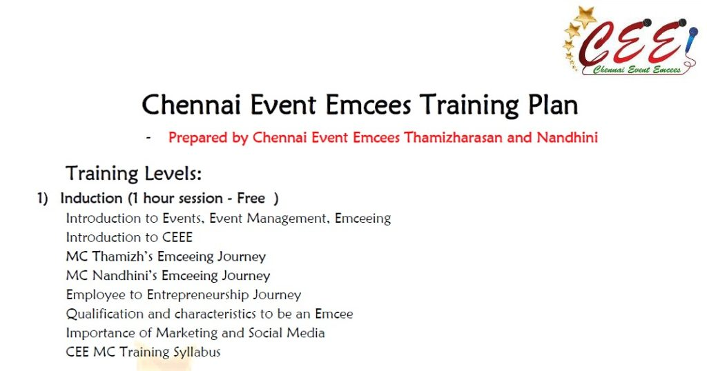 CEE MC Training Induction Program Agenda created by Chennai Event Emcees Thamizharasan and Nandhini