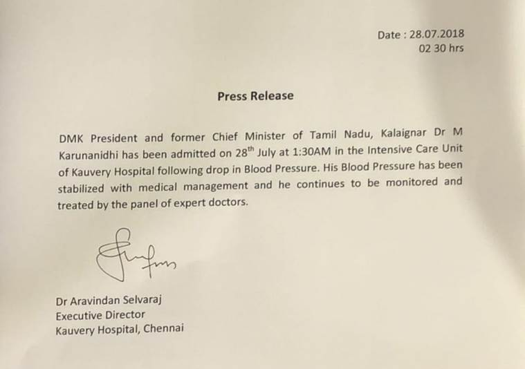 DMK President Dr Kalaignar Karunanidhi health Latest Update Press release from Kauvery Hospital