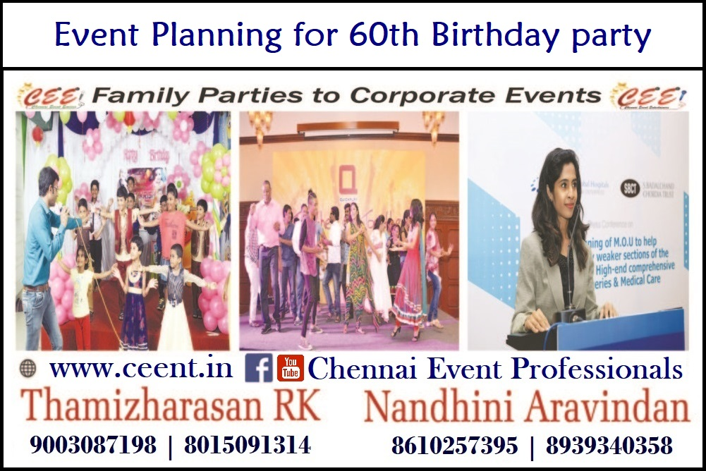Event Planning for 60th Birthday party Chennai Event Entertainers Thamizharasan