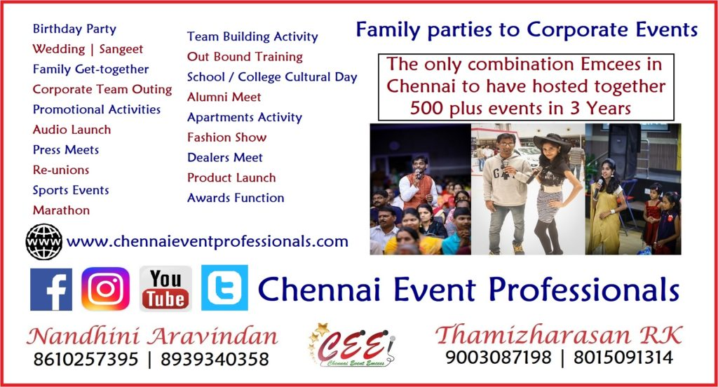 Chennai Event Professionals Entertainers and Emcees Nandhini Aravindan and Thamizharasan Karunakaran